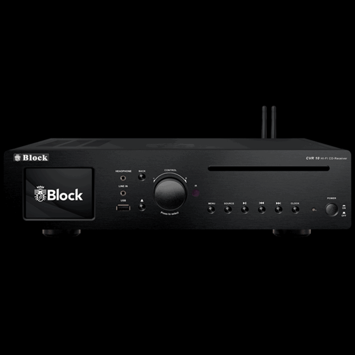 Block Audio CVR-10  -  CD-Internet-Receiver tudo em um. Amplificador toroidal 2 x 30 W, rádio FM/DAB/Internet, ethernet, wifi, bluetooth, spotify, nas, server, media player, Spotify Connect, display a cores com capas, alarme duplo.