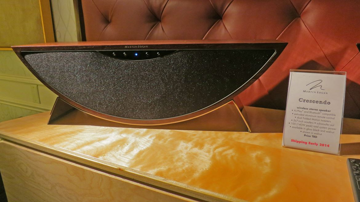 Martin Logan Crescendo wireless stereo speaker. Air Play and Blutooth compatible (photo courtesy R.Franassovici of Absolute Sounds)