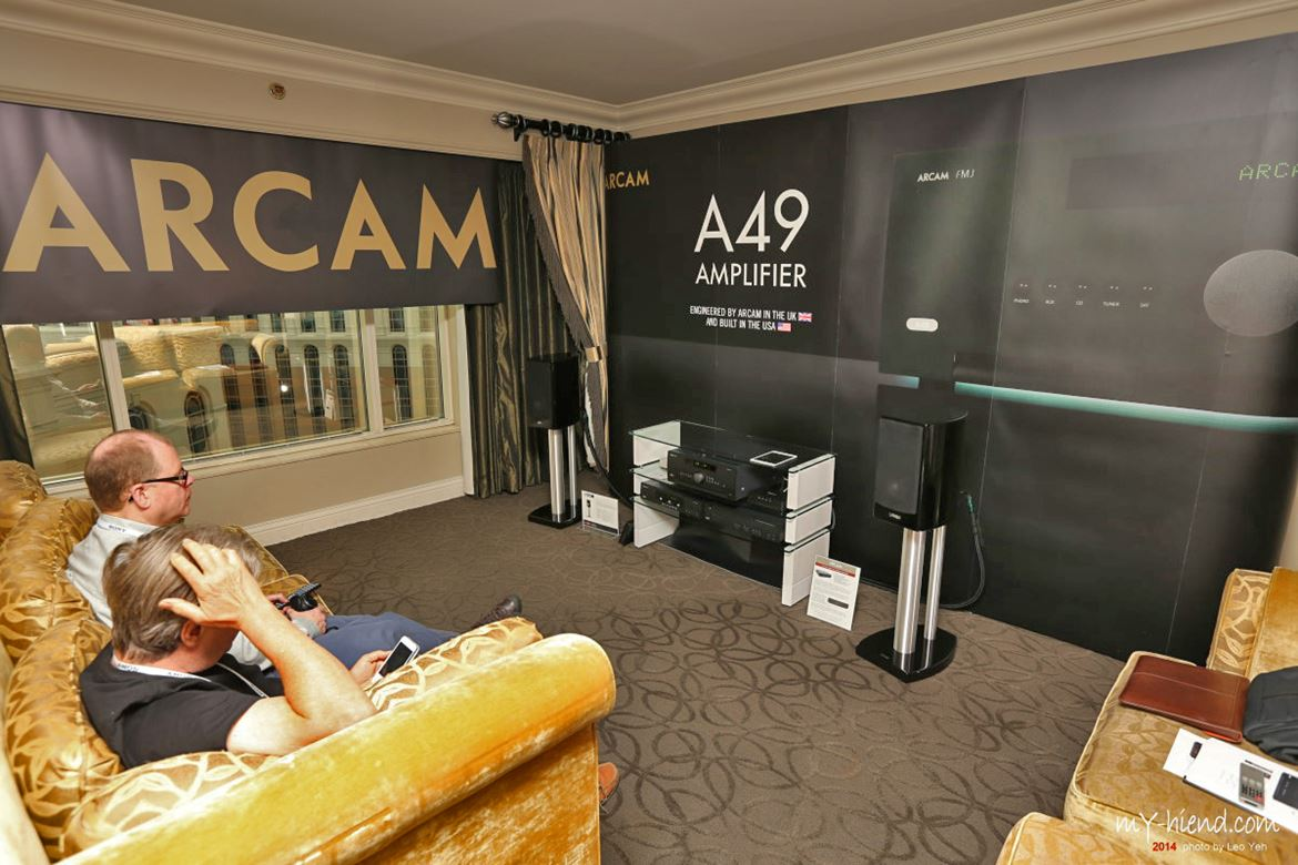Arcam room. You couldn't miss they were demonstrating the A49 amplifier. Conceived in UK, born in USA for a change