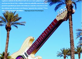 Las Vegas: a mítica guitarra do Hard Rock, que ficava em frente ao Alexis Park onde in illo tempore se exibia o high performance audio