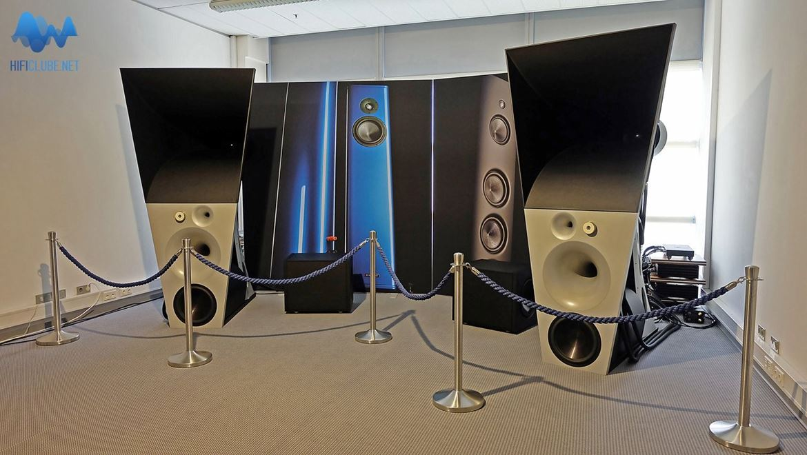 Magico Ultimate III active trihorn loudspeaker system, with associated Pass Labs First Watt and emm labs digital source